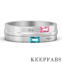 Men's Personalized Birthstone Promise Ring with Engraving Platinum Plated Silver