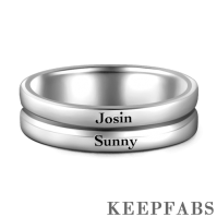 Engraved Men's Band Ring Silver