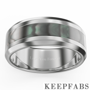 Men's Engraved Tungsten Promise Ring with Mysterious Abalone Inlay