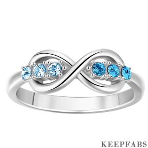 Personalized Birthstone Auroral Infinity Ring Silver