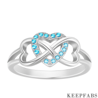 Personalized Birthstone Infinity Love Ring Silver