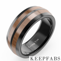 Men's Engraved Black Tungsten Promise Ring with Wooden Inlay