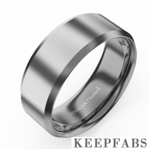 Men's Beveled Edge Polished Tungsten Promise Ring with Engraving