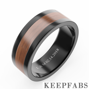 Men's Engraved Polished Black Tungsten Promise Ring with Wooden Inlay