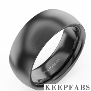 Men's Polished Black Tungsten Promise Ring with Engraving