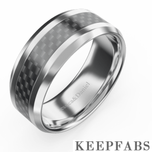 Men's Engraved Black Polished Tungsten Promise Ring with Carbon Fiber Inlay