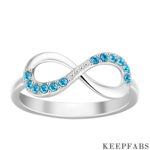Personalized Birthstone Infinity Ring Silver