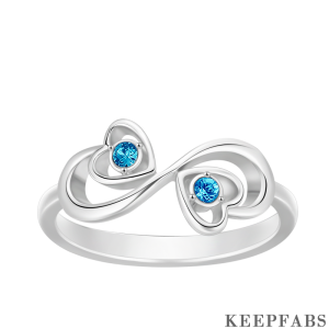 Personalized Birthstone Infinity Love Silver Ring