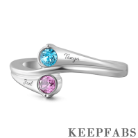 Personalized Birthstone Engraved Promise Ring Silver