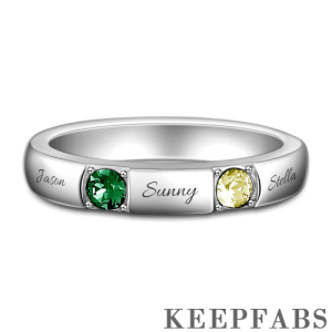 Personalized Birthstone Engraved Mother's Ring Silver