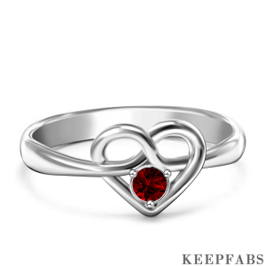 Personalized Birthstone Heart Ring
